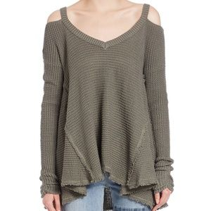 Free people Green Moonshine Cold-shoulder Sweater